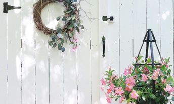placement - hanging flowers and gate hardware