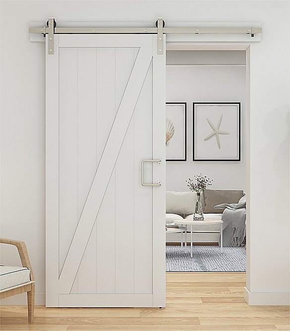 Classic Satin Nickel Barn Door Hardware Kit