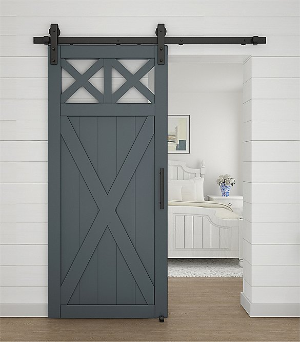 Premium Matte Black Barn Door Hardware Kit