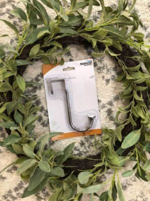 Wreath with hardware hook in middle